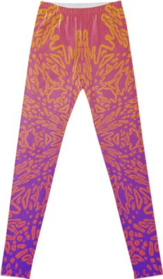"""""""OMBRE III"""" LEGGINGS  BY DOVETAIL DESIGNS, from Print All Over Me. This design originated from photos in the garden, pared down to pure pattern, and re-energized with bright color. There are several varieties of these Ombre designs."""