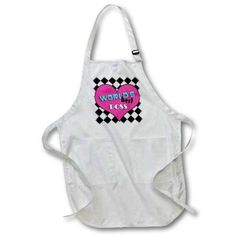 3dRose Worlds Best Boss Pink, Full Length Apron, 22 by 30-inch, White, With Pockets