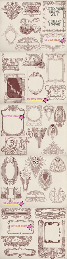Art Nouveau Frames & Ornaments Vol 2. Photoshop Brushes. $8.00
