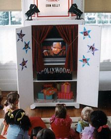 movie themed bday party -- love the idea of putting a curtain around the tv to make it look like a theatre.