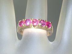 Estate 1.35ct Ruby Stackable Band Ring 14kt Yellow Gold by Gemsbygigialonia on Etsy