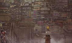 DeviantArt's shares a cyberpunk, sci-fi vision of the future. His work includes an clear nod to Hong Kong's high-density architecture and the dystopian Kowloon Walled City. Arte Cyberpunk, Cyberpunk Anime, Cyberpunk Aesthetic, Kowloon Walled City, Matte Painting, Dystopian Art, Dystopian Future, Sf Wallpaper, Windows Wallpaper