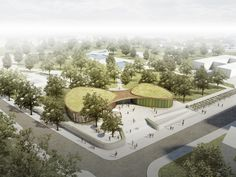 nps tchoban voss and Hager Partner Design Recreation Center for Nauen,Aerial view. Image Courtesy of nps tchoban voss Landscape Architecture, Interior Architecture, Landscape Design, Wood Frame Construction, Solar Shades, Building Facade, Outdoor Swimming Pool, Design Competitions, Aerial View