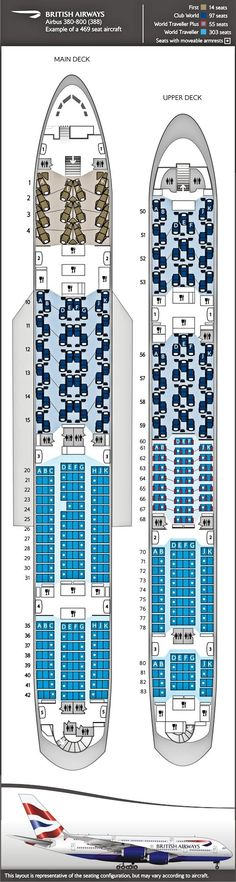 Seating plan, British Airways A380 469 seats in 4 classes.