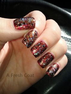 Deep Glitter Queen Nails, Red Queen, Glitter, Deep, Fresh, Coat, Beauty, Beleza, Sewing Coat