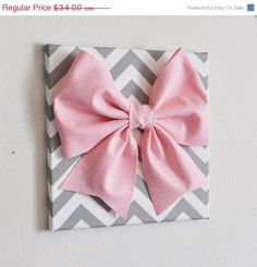 NEW+YEARS+SALE+Large+Light+Pink+Bow+on+Gray+and+White+by+bedbuggs,+$31.00