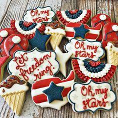 Of July Cookies - Blush & Pine Creative Iced Cookies, Cute Cookies, Cookies Et Biscuits, Crazy Cookies, Bar Cookies, 4th Of July Cake, July 4th, Patriotic Sugar Cookies, Cookie Designs