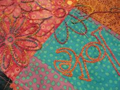 embroidery over patchwork Fiber Art, Embroidery, Create, Stitching, Painting, Friends, Ideas, Scrappy Quilts, Costura