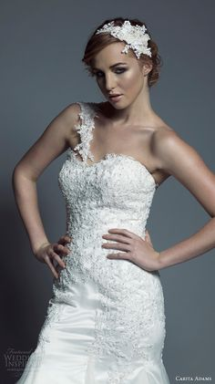 one shoulder sweetheart neckline beaded bodice fit to flare trumpet wedding dress tasha close up