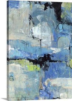 """Blue abstract art depicted with a multiple shades of blue, """"Spontaneous I"""" abstract canvas print by Tim O'Toole. Available for purchase at GreatBIGCanvas.com."""