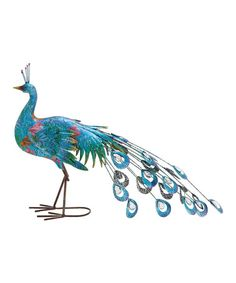 Look what I found on #zulily! Drooping Metal Peacock Statue #zulilyfinds