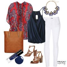 July 4th Outfit - Stay festive, yet sophisticated with this red, white & blue outfit. We love the touch of Navy with the JULEP nail polish in this July Polyvore look on Frugal Coupon Living.