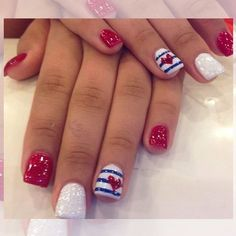 of July Nails! The Very Best Red, White and Blue Nails to Inspire You This Holiday! Fourth of July Nails and Patriotic Nails for your Fingers and Toes! Fancy Nails, Trendy Nails, Diy Nails, Sparkle Nails, Glitter Nails, Red Glitter, Red Toenails, Blue Nails, Patriotic Nails