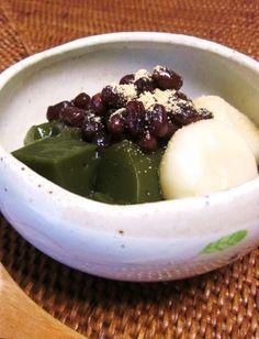 """""""Green tea boiled peas with honey and bean jam """"もちもち抹茶あんみつ風♪/あんみつ"""