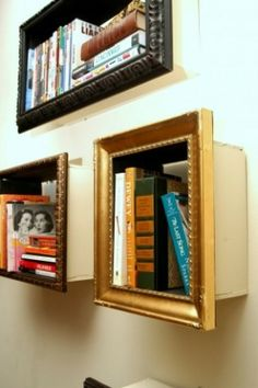 Photoframe bookshelves  Small pieces of wood were added to the backs of old frames, creating shelves for…