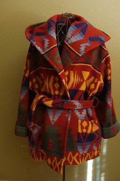 79c05ef063 Vintage Ralph Lauren Beacon Navaho Wrap Blanket Hooded Coat Size Sample 8  10 12