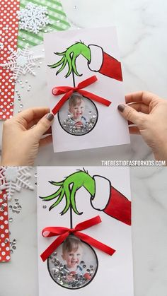 GRINCH CARD 💚❤️ - such a cute homemade Christmas card to make! Write Merry Grinchmas inside too! GRINCH CARD 💚❤️ - such a cute homemade Christmas card to make! Write Merry Grinchmas inside too! Christmas Arts And Crafts, Diy Christmas Cards, Christmas Fun, Holiday Crafts, Christmas Ornaments, Homemade Christmas Crafts, Grinch Christmas Decorations, Glass Ornaments, Preschool Christmas Crafts