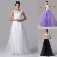 LACE Evening Bridesmaid Dress Long Formal Cocktail Party Prom Wedding Ball Gowns #GraceKarin #BallGown #Clubwear