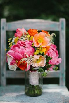 Poppy and peony bridal bouquet. Pretty and fun!