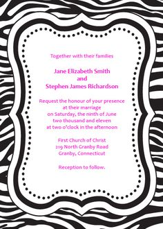 Free Pink And Black Zebra Print Wedding Or Bridal Shower Invitation Great For 15 Anos Too Birthday Party Ideas