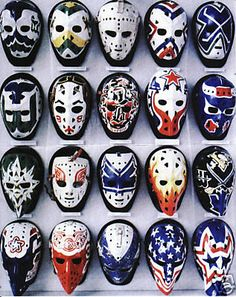 i love hockey! these old vintage goalie masks are sick Montreal Canadiens, Mtl Canadiens, Rangers Hockey, Hockey Goalie, Hockey Players, Hockey Helmet, Hockey Rules, Hockey Logos, Nhl