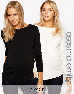 ASOS Maternity | ASOS Maternity Crew Neck Top with Long Sleeves 2 Pack SAVE 10% at ASOS