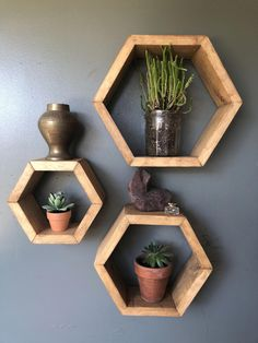 Honeycomb Shelves, Geometric Shelves, Hexagon Shelves, Triangle Wood Shelf, Decorative Shelves, Geometric Decor, Diy Bedroom Decor, Diy Home Decor, Wood Home Decor