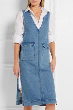 Blue stretch-denim Zip fastening along back cotton Dry clean Diy Jeans, Denim Fashion, Fashion Outfits, Womens Fashion, Jean Diy, Elisa Cavaletti, Mode Jeans, Denim Ideas, Recycled Denim