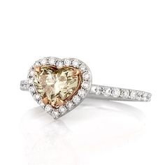 1.57ct Fancy Light Brown Yellow Heart Shaped Diamond Engagement Ring