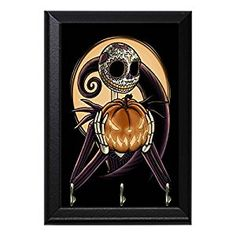 "Jack Skellington Pumpkin Decorative Wall Plaque Key Leash Hook Holder Hanger 8"" x 6"""