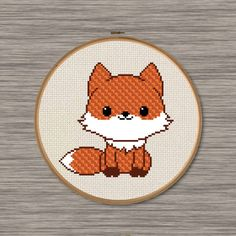 Cute Fox  PDF Cross Stitch Pattern by DJStitches on Etsy