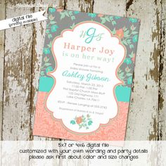 #zibbet   Baby girl shower invitation floral monogram baby sprinkle gender reveal bash mint green coral baptism (item 1335) shabby chic invitations by Katiedid Designs, $13.00 USD