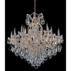 Crystorama Lighting Group 4418-CL-MWP Maria Theresa 19 Light 35 Wide Chandelier (Chrome (Grey) Finish)