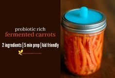 You are 2 household ingredients away from a jar of fermented carrots teeming with gut nourishing probiotics, enzymes, and B vitamins!