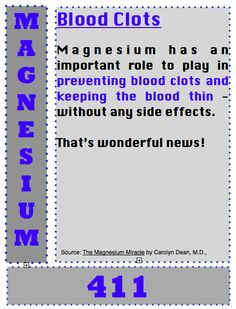 Back to Eden: Magnesium 411: Blood Clots