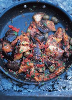 This is a fantastic dish from southern Italy that's eaten as a warm vegetable side dish or a cold antipasto. Sicilians are proud that it's made with produce from their island. All the different methods of making it are more or less the same – the things that make it stand out and be special are the quality of the aubergines, tomatoes and vinegar. Always try to get hold of nice firm aubergines with very few seeds – have a look down in your local market to see if you can find different ...