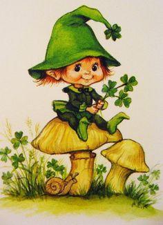 "Patrick's vintage style Leprechaun doll ""Clover McCoppertop"" shamrock Vintage Irish Leprechaun Card. CASE with Knobbly Gnomes for a St. Vintage Greeting Cards, Vintage Postcards, Vintage Images, Fete Saint Patrick, Irish Leprechaun, Erin Go Bragh, Irish Blessing, St Paddys Day, Happy St Patricks Day"