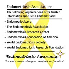 Endometriosis Associations: The following organizations offer trusted information specific to Endometriosis: • Endometriosis.org • The Endometriosis Association • Endometriosis Research Center • Endometriosis Foundation of America • World Endometriosis Society • World Endometriosis Research Foundation *For more: www.endosupport.com/endowp/websites #EndoDidYouKnow #Endometriosis #EndoAware #EndoSisters #Endo #EndoSupport