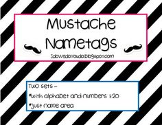 If you love mustaches, you will love these name tags!Fun and simple mustache name tags. I made them in both a pink and a blue outline. They als. Valentine Bulletin Boards, School Bulletin Boards, 4th Grade Classroom, Classroom Ideas, Back To School Activities, School Ideas, Pacing Guide, Classroom Setting, Love You