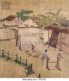 CHINA: SILK WEAVING. /nSilk weaving on a wooden loom. Chinese silk painting, c1650-1726. - Stock Image