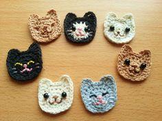 「糸を切らずに編める♪ 猫の顔」猫の顔を、できれば糸を切らずに一気に編めたらな~と思い、考えました。 入園・入学準備に、お子様の持ち物のワンポイントにいかがでしょうか?[材料]コットン糸/刺繍糸/黒ビーズ