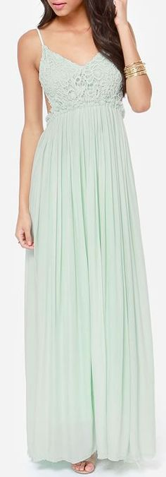 Crocheted Mint Maxi Dress