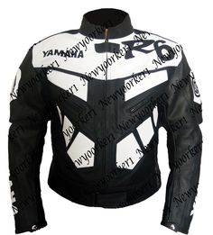 f0bfcd8421f Yamaha R6 Black Whit Leather Motorcycle Armour Jacket Men s