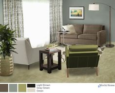 Living room in neutral greens/creams/browns -- Living Room Layout + Color: What's Your Vote? - Mochi Home