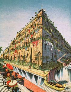 The Hanging Gardens of Babylon (Original Macmillan Poster) (Print) art by Stuart Boyle at The Illustration Art Gallery