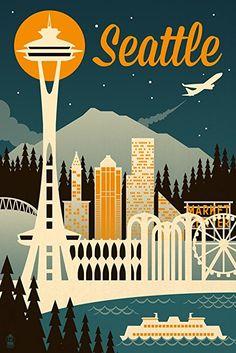 Seattle, Washington - Retro Skyline (Art Print, Wall Decor Travel Poster)