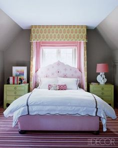 Unique way to incorporate window treatments into a headboard.  In and Out Decor: Kids Room