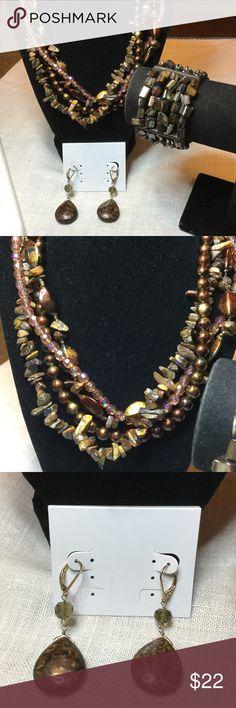 Selling this Earthtone jewelry lot..Tiger eye,mother of pearl on Poshmark! My username is: kennjenn2010. #shopmycloset #poshmark #fashion #shopping #style #forsale #jewelry lot #Jewelry