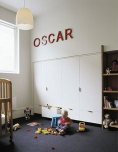 great built-in storage in a kids room