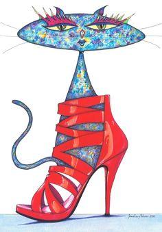 """Saatchi Online Artista: Daniel Levy, pluma y tinta, 2010, Dibujo """"Bortolini CAT ROJO"""""""